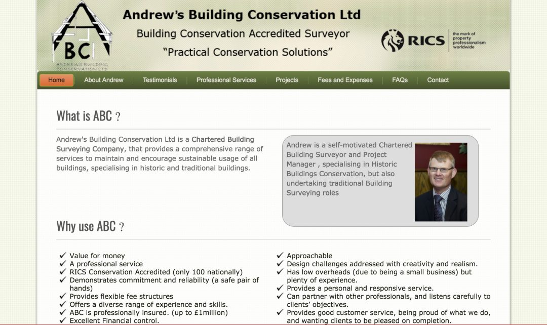 Website Development – Andrew's Building Conservation Ltd
